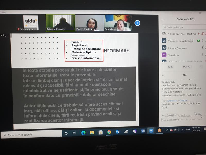 A doua sesiune a Instruirii online în Raionul Ungheni