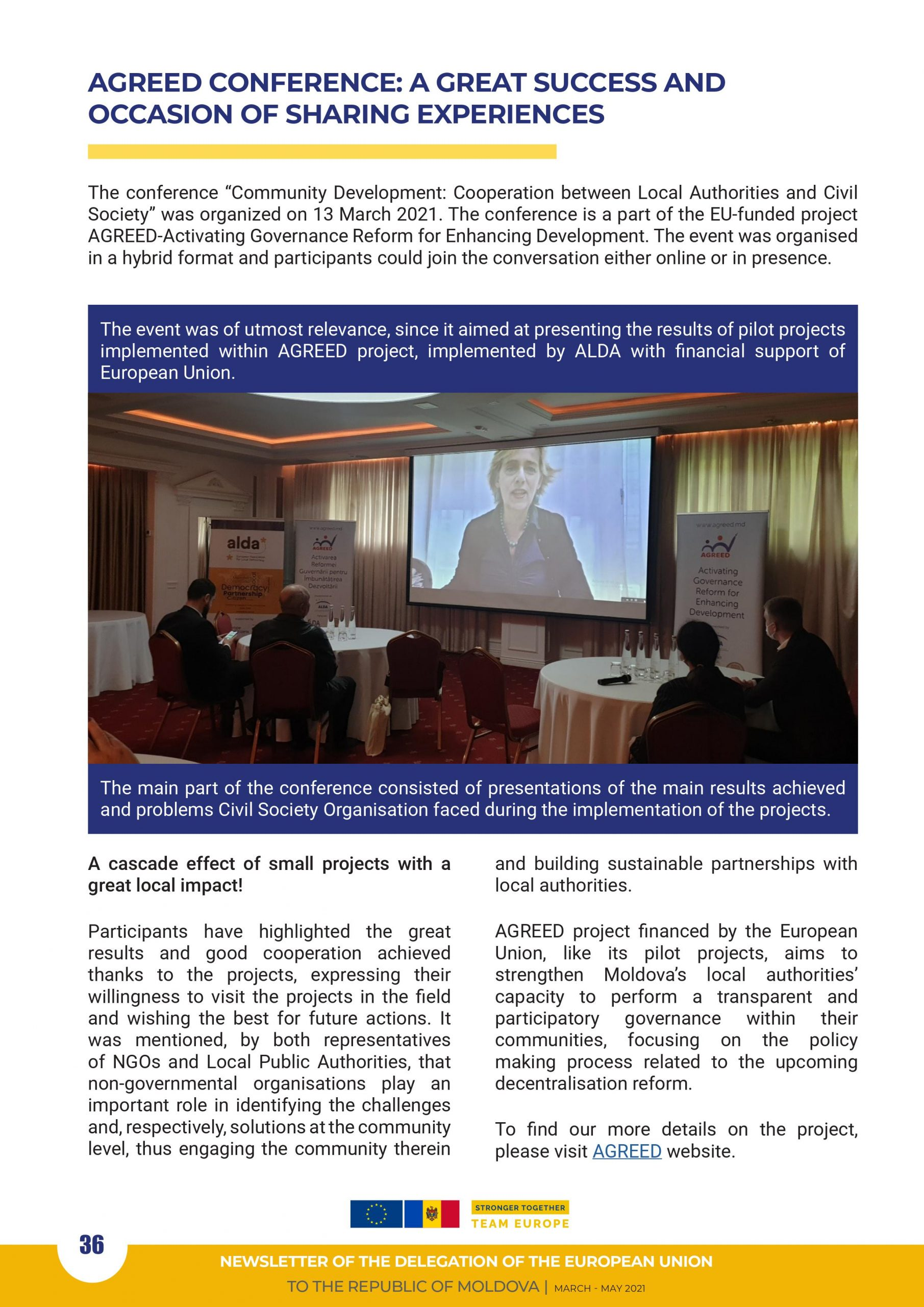 7th EU Newsletter – Evaluation Conference of Pilot Projects within AGREED