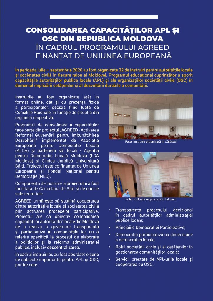 EU NEWSLETTER, AGREED ACTIVITIES
